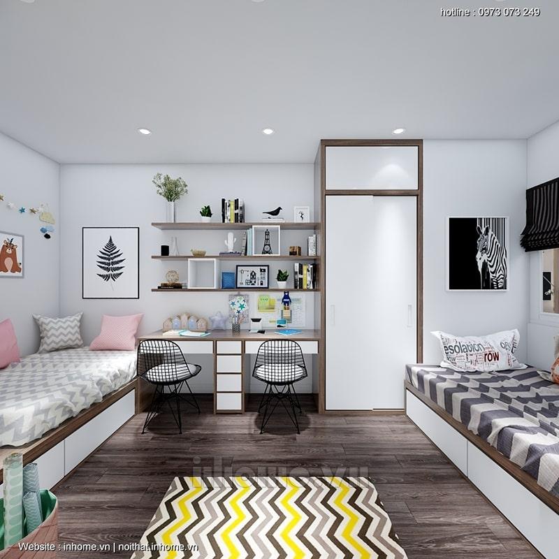 Phòng ngủ của các bé được cải tạo với tông màu sáng trắng dễ chịu