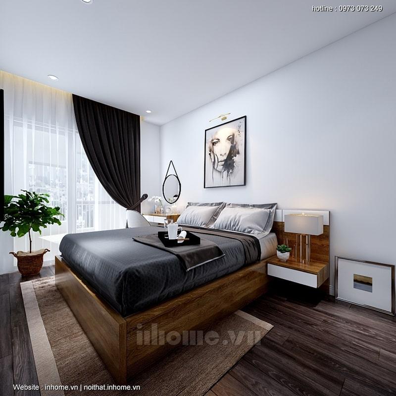 Phòng ngủ bố mẹ có tông màu trầm hơn một chút