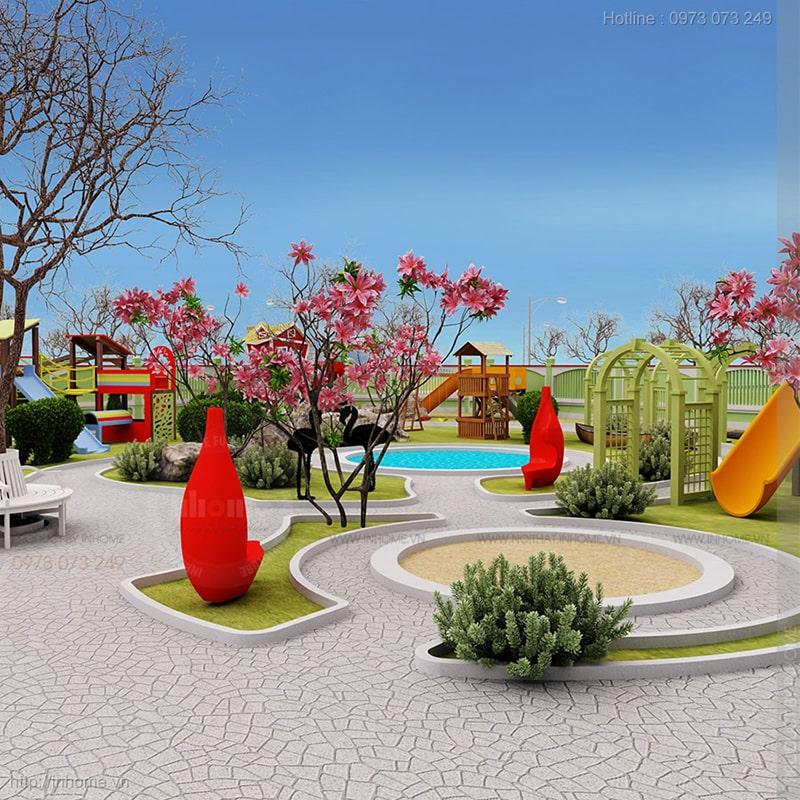 Thiết kế sân vườn trường