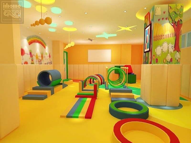 Thiết kế nội thất trường mầm non với màu sắc đa dạng